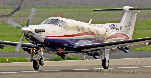 Pilatus PC-12 (N581JV) - Boutique Air 382 arriving at the Merced Regional Airport 1/27/16