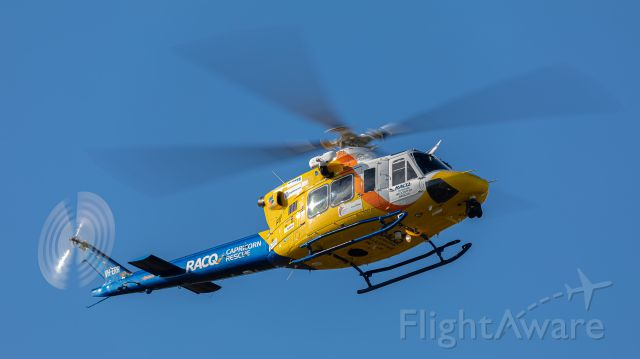 Bell 412 (VH-EPR) - Rescue 300 a week before the 16-year old arsonist lit up bushland in the area, so a lovely blue sky.
