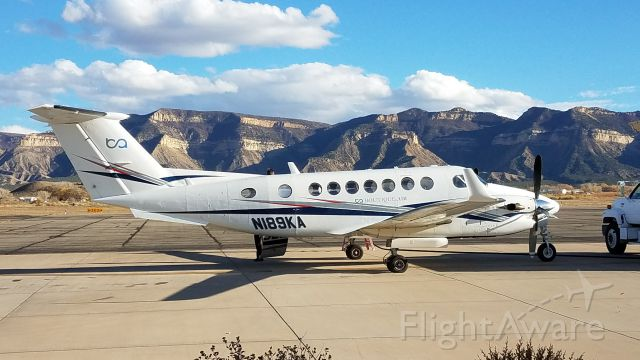 Beechcraft Super King Air 350 (N189KA) - Beechcraft Super King Air B350, operated by Boutique Airlines, on 11/5/2017 in Cortez, CO with the late afternoon sun on the cliffs of Mesa Verde