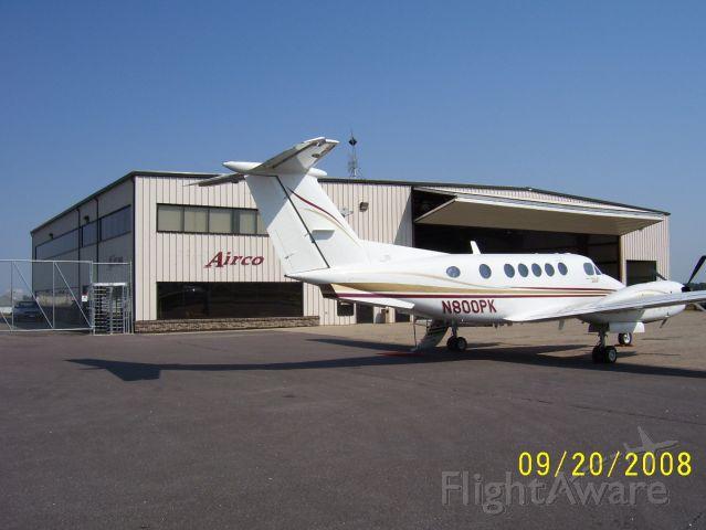 Beechcraft Super King Air 200 (N800PK) - On the ramp at Watertown, South Dakota