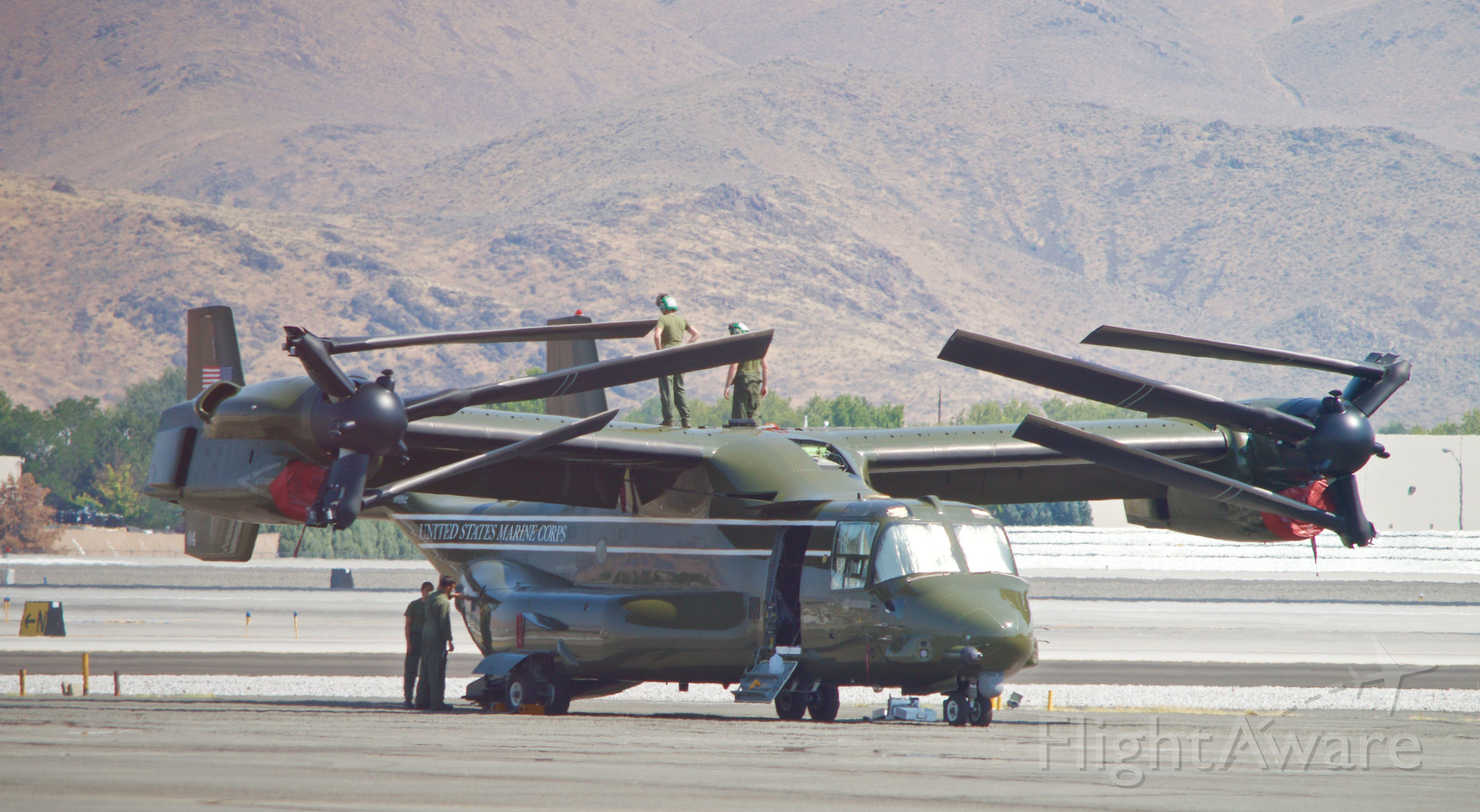 """16-8292 — - MV-22B at KRNO/Reno preparing for arrival of POTUS.  Three of the """"Ospreys"""" arrived to support the visit for a trip to the Lake Tahoe Conference  in August 2016"""