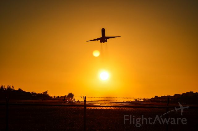 McDonnell Douglas MD-80 — - DAE taking off Runway 10, leaving the beautiful sun behind