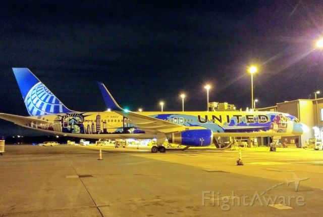 Boeing 757-200 (N14102) - Parked overnight. Not sure if this plane is still flying. This was taken last year.
