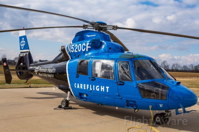 VOUGHT SA-366 Panther 800 (N520CF) - CareFlight's Eurocopter AS365 Dauphin sitting on the pad at Warren County Airport.