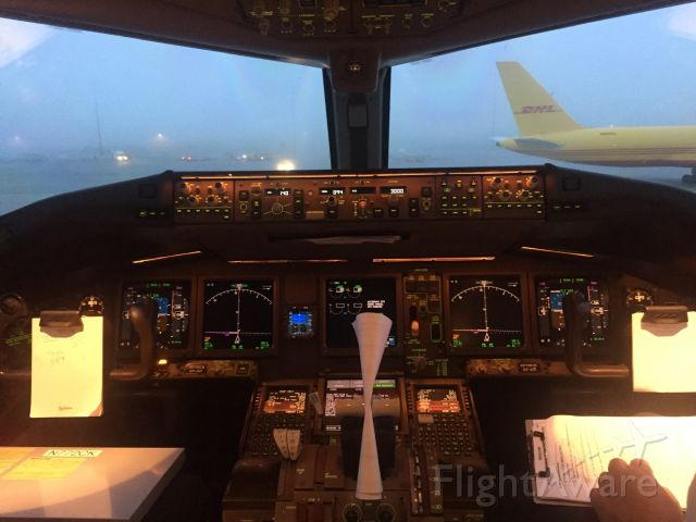 Boeing 777-200 (N772CK) - Foggy morning at CVG from the cockpit of CKS 772