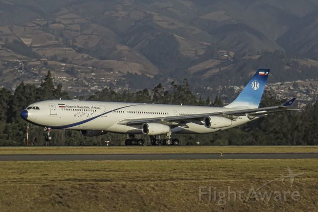 Airbus A340-300 (EP-AJA) - The foreign minister of Iran taking off from Quito on board the Airbus A340 after a tour around South America.