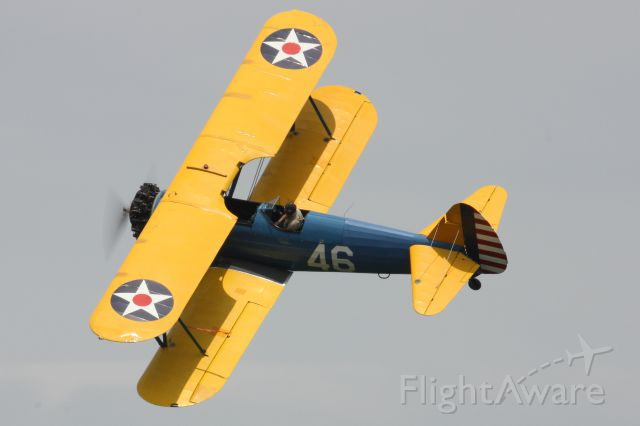 Boeing PT-17 Kaydet (N46Y) - 1941 Boeing B75 flying at The Greatest Show on Turf 2018 in Geneseo, NY