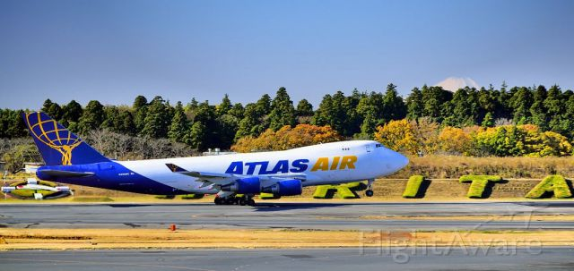 Boeing 747-400 (N496MC) - TO with Fuji san behind!