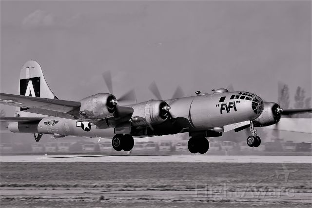 Boeing B-29 Superfortress (N529B) - Fifi with her Radials Growling for Air Speed Departs Runway 18 Oshkosh.