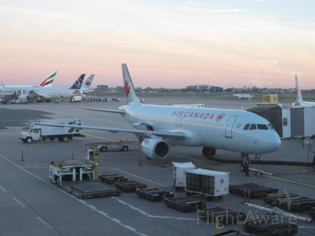 Airbus A320 (C-FMSX) - Soon boarding ACA 1185 from YYZ to YYC. Lucky enough to see 788 sp-lrd in the background.