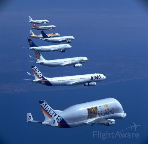 — — - The Airbus family minus the A380.