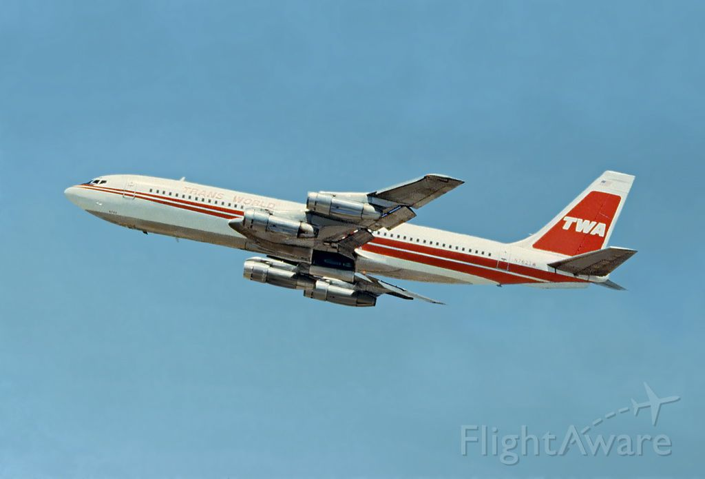 Boeing 707-100 (N782TW) - Photo taken spending a day plane watching at SFO terminal #1, observation deck, next to the USO lounge in July 1981
