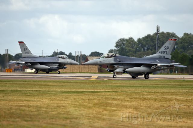 Lockheed F-16 Fighting Falcon — - Holding short RW 24 at Lakenheath, UK