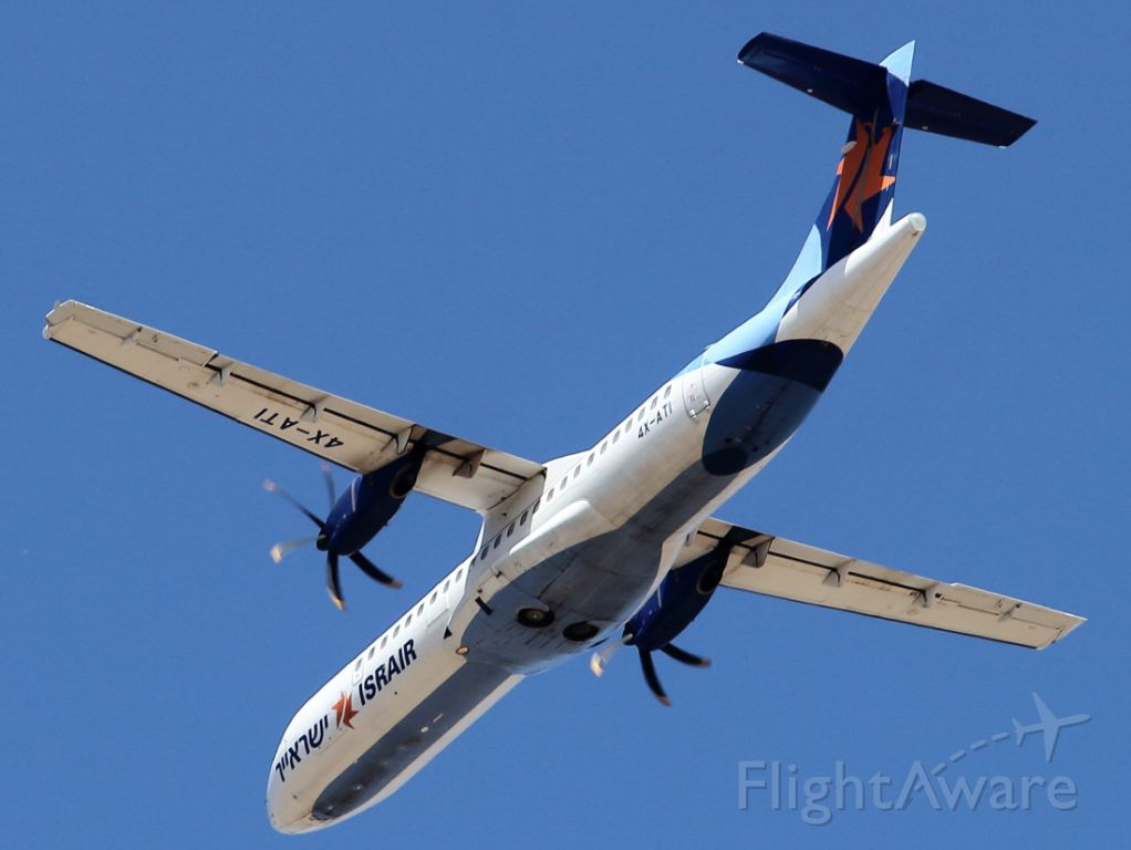 ATR ATR-72 (4X-ATI) - 22/04/2021:  An under-belly view, after T/O from runway 26, en-route to Eilat, an approx. 1h flight in Israel.