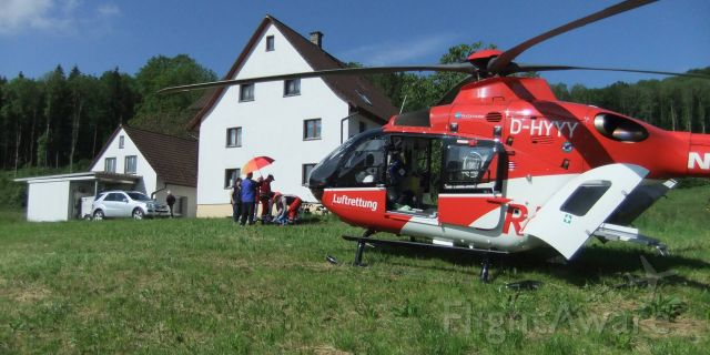Eurocopter EC-635 (D-HYYY) - accident on the farm , EC-H135 rescue helicopter , (DRF)