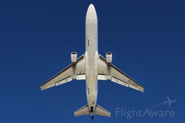 Boeing 747-400 (PH-KCE) - View from below, a KLM Royal Dutch Airlines operated McDonnell Douglas MD-11 trijet, takes to the skies after liftoff from the Los Angeles International Airport, LAX, in Westchester, Los Angeles, California