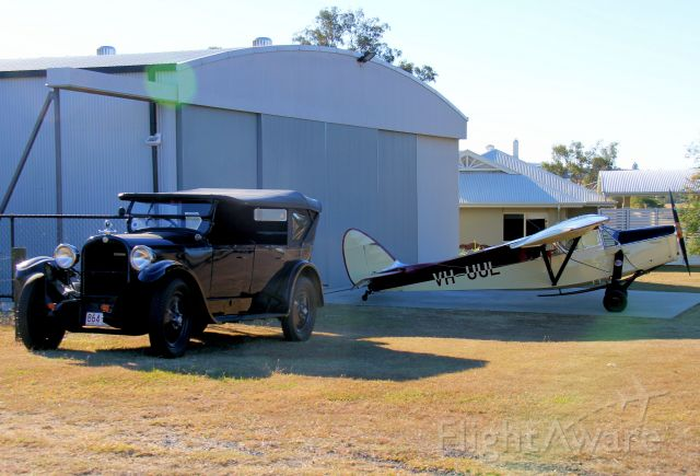 De Havilland Leopard Moth (VH-UUL) - First registered in Australia in 1935 this DH85 has held the registration ever since. Seen at Boonah Queensland with a vintage car that makes a nice period setting photo