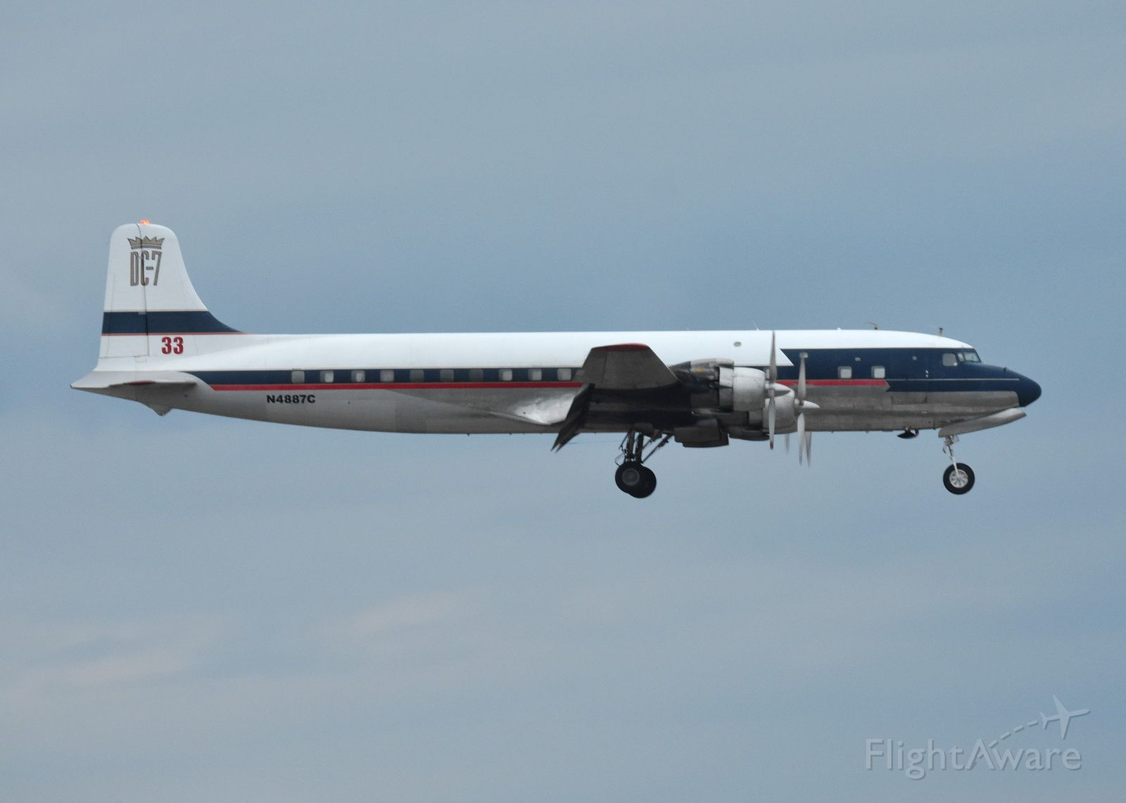 Douglas DC-7 (N4887C) - N4887C Douglas DC-7B makes it's final landing at Hartsfield-jackson International airport after a long awaited ferry flight. 11/17/2019