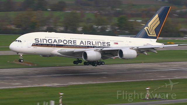 Airbus A380-800 (9V-SKR) - final approach R28 from SIN