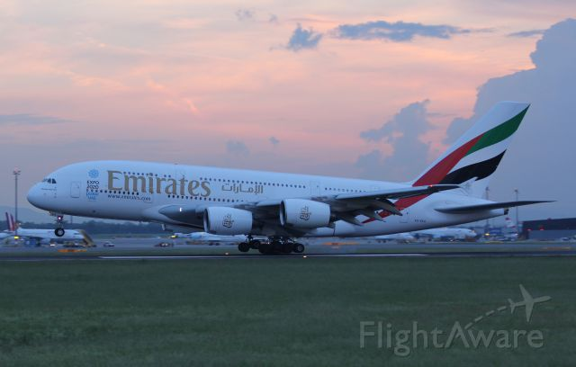 Airbus A380-800 (A6-EES) - First commercial landing of an A380 in Vienna due to the 10 year jubilee Vienna - Dubai.