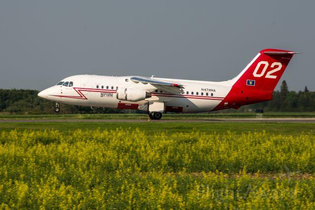British Aerospace BAe-146-200 (N474NA) - BAE-146-200A N474NA Tanker 02 departing Runway 7/25 at 6:49 PM on July 7, 2015.