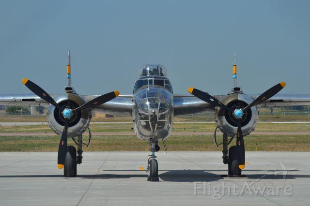 """N27483 — - North American B-25J """"Miss Mitchell"""" sitting on the tarmac in KFSD - 7-17-2012"""