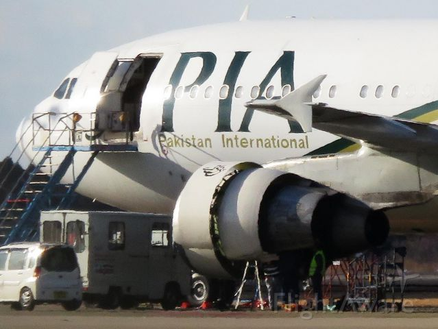 Airbus A310 (AP-BGO) - I take a picture on Dec 24, 2016.<br />A staff opens an engine cowl and is struggling. Wasn