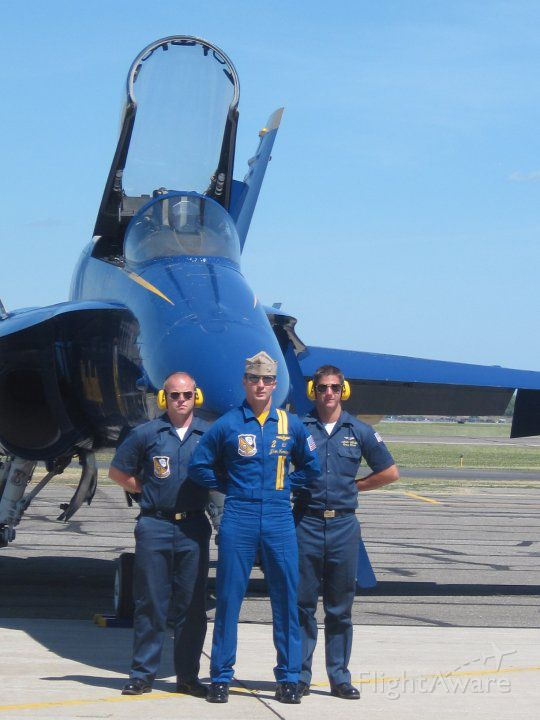 McDonnell Douglas FA-18 Hornet — - USN Blue Angels arrive at Republic Airport during the Memorial Day weekend.