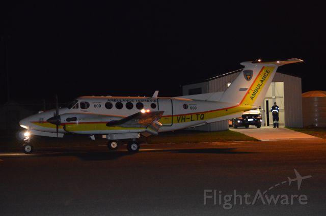 Beechcraft Super King Air 200 (VH-LTQ) - RFDS kingair VH-LTQ arriving at Flinders Island from Launceston, Sept 2016
