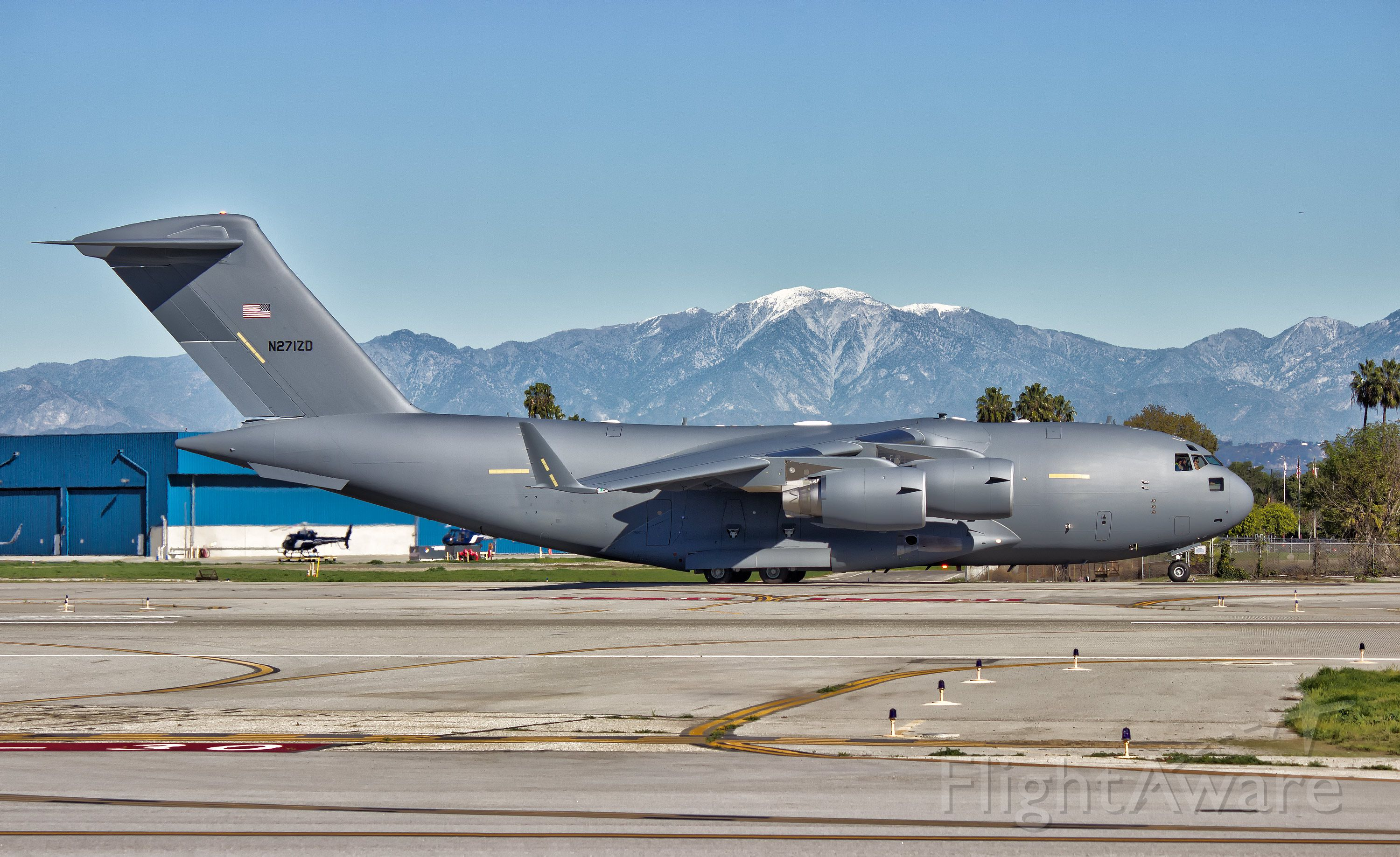 """Boeing Globemaster III (N271ZD) - A """"white tail"""" Boeing C-17 Globemaster III taxiing out to the main for its maiden test flight from the Boeing Factory in Long Beach, CA at KLGB"""