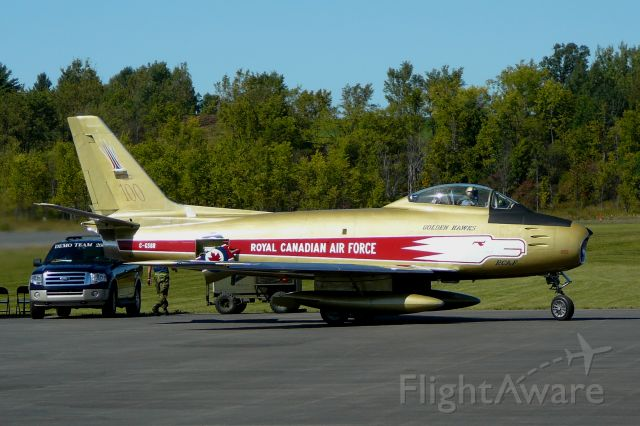 North American F-86 Sabre (C-GSBR) - F86 Sabre from Vintage Wing of Canada at open house in 2009  http://www.vintagewings.ca/    That A/C are painted as the Golden Hawks acrobatic Canadien Team