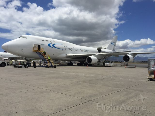 Boeing 747-200 (N703CK) - Bety Ward 1. Thursday afternoon At Honolulu. Being loaded for our flight to Los Angeles.