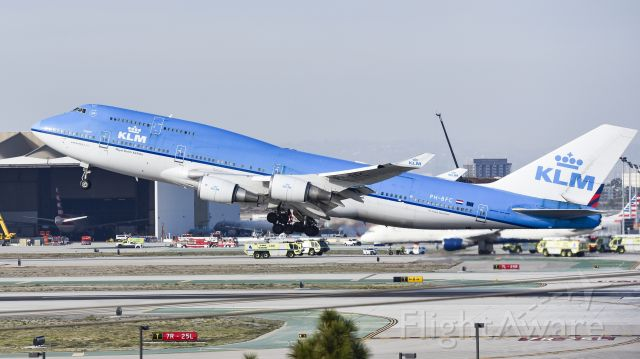 """Boeing 747-400 (PH-BFC) - KLM """"CALGARY"""" Blasting out of LAX yesterday"""
