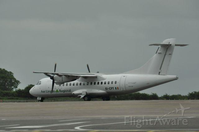 Aerospatiale ATR-42-300 (EI-CPT) - Aer Lingus / Aer Arann ATR 42-300 EI-CPT at Bristol Airport, in a very cloudy and rainy day!