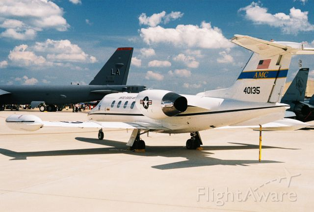 Learjet 35 (84-0135) - USAF C-21A, Ser. 84-0135, at the Barksdale AFB annual airshow in May 2005... otherwise, a Learjet 35A. The B-52H tail in the background belongs to Ser. 60-0028 from Barksdale AFB.