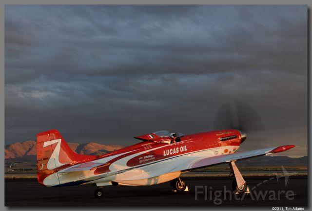 — — - Steve Hinton Jr. in Strega heading out for a morning test flight.