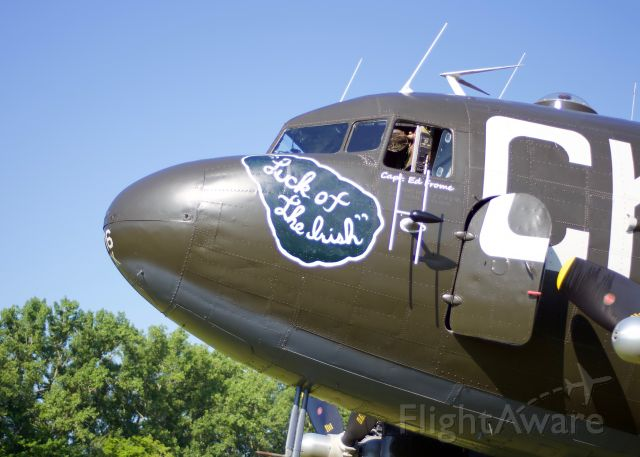 """NX836M — - """"CK"""" (Luck of the Irish) a DC-3/C47-B sits on the turf ramp at the 2019 Geneseo Airshow! """"The Greatest Show on Turf"""""""