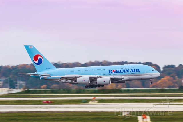 Airbus A380-800 (HL7622) - This was a fairly early morning arrival for the Korean Air A380 at Atlanta's international airport. The clouds were fairly thick, but enough light was getting through for some great colors. I shot this with my Canon 70-200 F2.8 lens with the focal length at 200mm. The shutter speed was 1/160, F4, ISO 1000. Please check out my other aviation photography. Votes and positive comments are always appreciated.