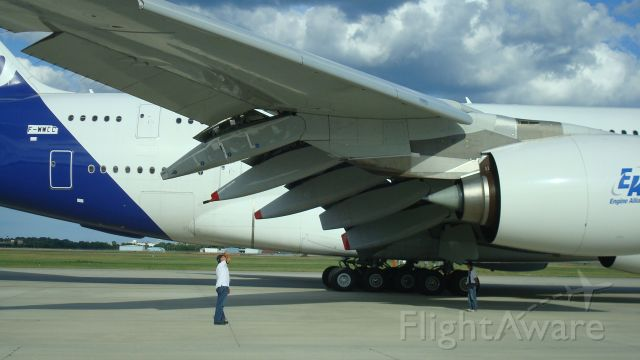 Airbus A380-800 (F-WWDD) - Imagine what this guy is thinking    Almost ready to taxi in Milwaukee