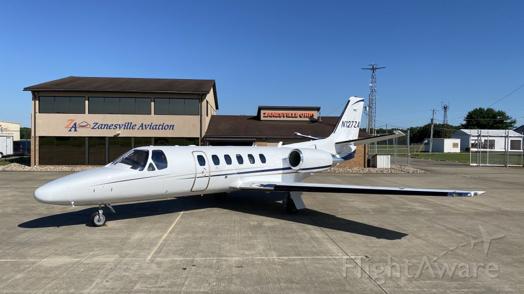 Cessna Citation II (N127ZA) - Freshly painted N127ZA sits on the ramp at home base in front of headquarters.