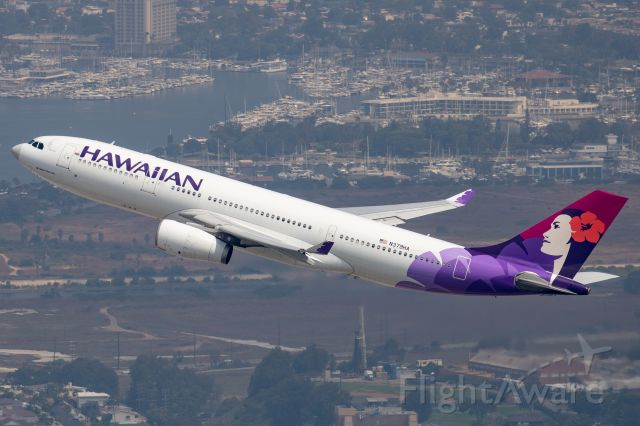 Airbus A330-200 (N379HA) - Climbing out of LAX bound for HNL
