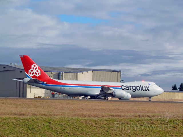 N5573S — - 1-30-2011 Cargolux (testing) Boeing 747-8F, N5573S, Taxing to take-off at Paine Field, Everett, Washington       Photo by Bruce McKinnon