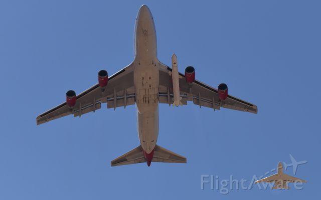 Boeing 747-400 (N744VG) - Virgin Orbit 747 Cosmic Girl - Captive-Carry of LauncherOne / Chased by Flight Research Sabreliner 65 - Mojave 05/24/19