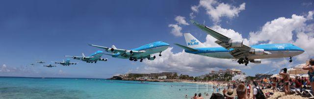 Boeing 747-400 (PH-BFA) - Sequentiel approche 744 KLM sur Maho Beach