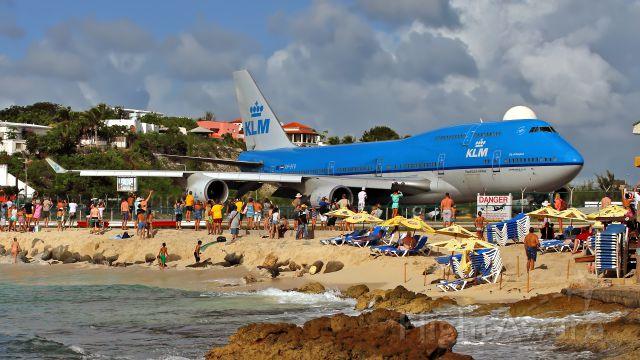 """Boeing 747-400 (PH-BFB) - Boeing 747 KLM (PH-BFB) in the afternoon at Maho Beach. In Rolling on taxiway for an imminent take-off runway 10.Google Earth:18°2'21""""N / 63°7'14""""W"""