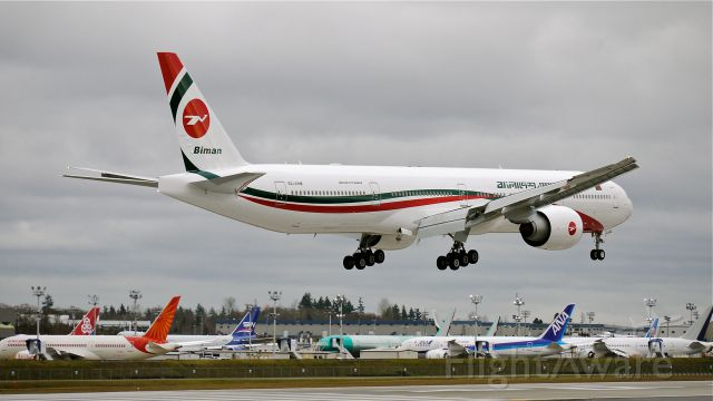 BOEING 777-300 (S2-AHM) - BOE318 on final to Rwy 16R to complete a flight test on 1/30/14. (LN:1170 cn 40120).