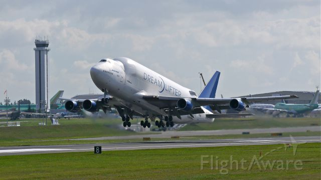 Boeing Dreamlifter (N249BA) - GTI4512 on rotation from Rwy 34L to begin a flight to RJGG / NGO on 10/1/14. (LN:766 / cn 24309).