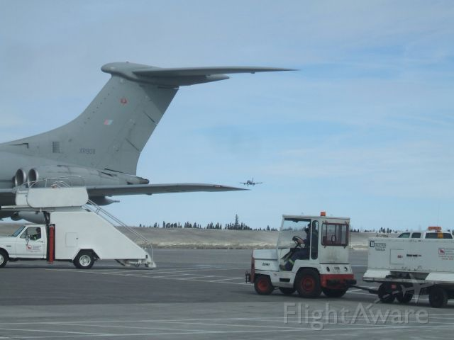 VICKERS VC-10 (XR808) - Parked  near Terminal Goose Airport NL and  Luftwafte AirBus 310  Landing. # 1023. March 27/09
