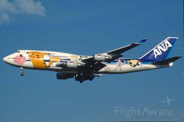 "Boeing 747-400 (JA8962) - Final Approach to Narita Intl Airport Rwy34L on 1999/10/24 "" Inter Pokemon c/s """