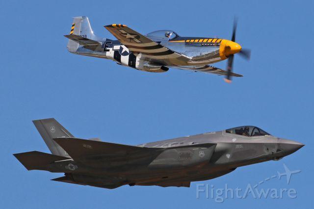 "North American P-51 Mustang (N51JB) - Jim Beasley, Jr. in his P-51D Mustang ""Bald Eagle"" (N51JB, c/n 44-73029-A) and a USAF Lockheed F-35A Lightning II (11-5038, c/n AF-49) from the ACC Demo team during Friday afternoon Heritage Flight rehearsal."